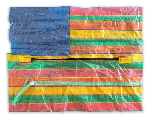 """Flag #1, 2019 28"""" x 35"""" Stitched & Mounted Sampheng Bag"""
