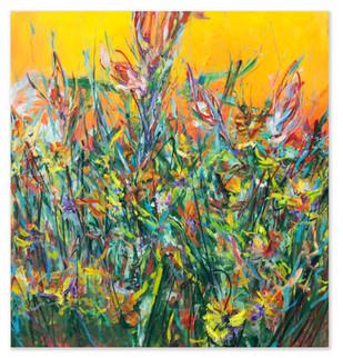 """Birth, 2018 52""""x50"""" Acrylic, oil, oil sticks, and spray paint on canvas"""