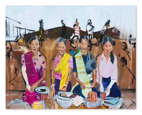 """Tak Baht, 2018 40""""x50"""" Acrylic, oil and spray paint on canvas"""