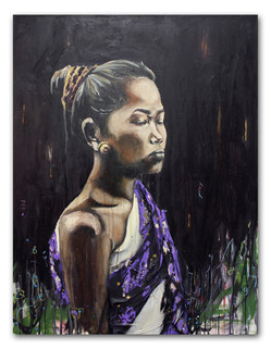"""Sao Noi, 2015 36"""" x 48"""" Oil and spray paint with attached fiber"""
