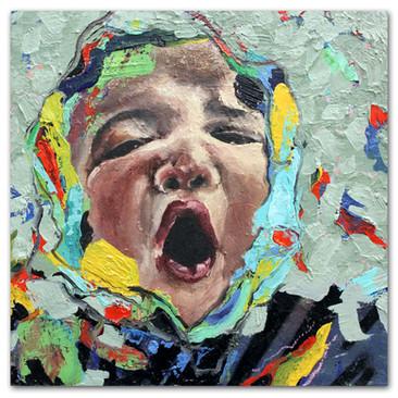 """Ahhh, 2016 12""""x12"""" Oil and spray paint on canvas"""
