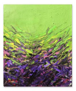 "Purp, 2017 20""x16"" Acrylic, laytex, and spray paint on canvas"