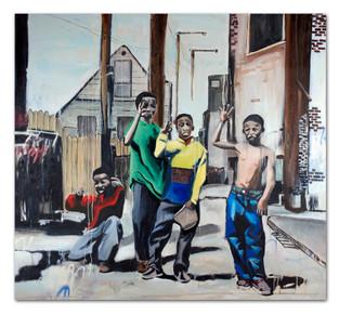 "Snow Beach and Spaulding, 2014 96"" x 96"" Oil and spray paint on canvas"