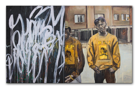 "Black and Yellow (Dyptich) 2014 48"" x 78"" Oil and Spray Paint on Canvas"