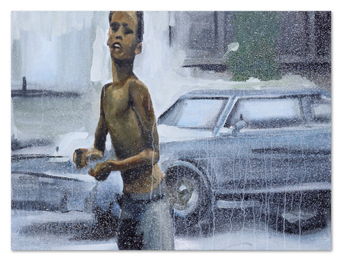 "Moo Moo en la bomba, 2018 30""x40 Acrylic, oil and spray paint on canvas"