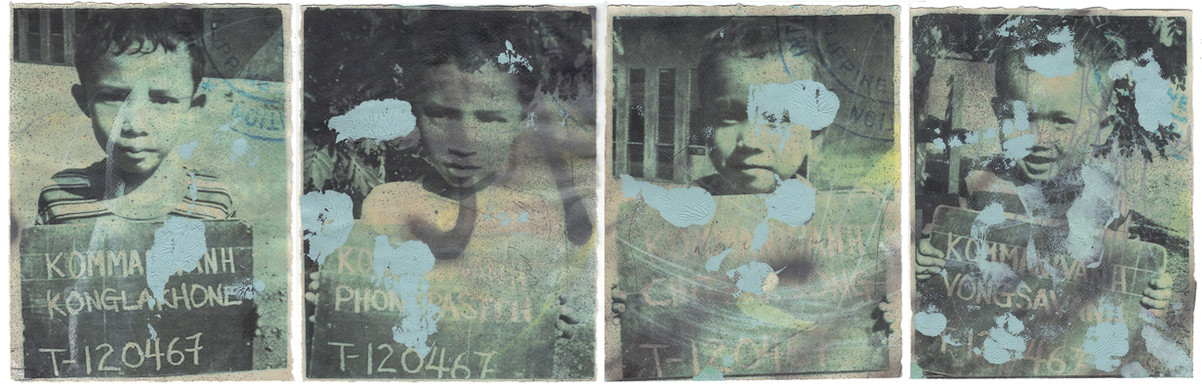 """Ain't nothin' but a G Thang, 2011 11""""x 32"""" Acrylic, ink jet print, water color on paper"""