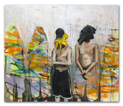 Local Boys wear rags, 2015 48″x 60″ Mix Media on canvas