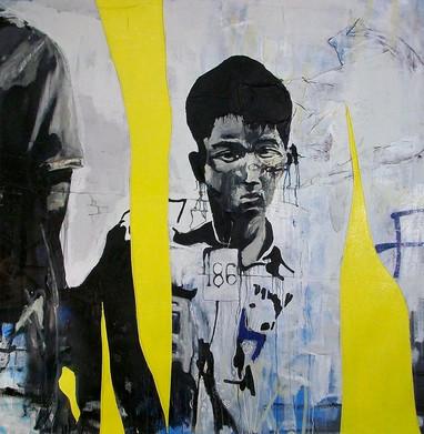 Boy #186, 2010 5'X5″ mixed media on canvas (sold)