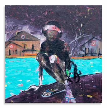 """River Park Boy, 2020 24""""x24"""" Acrylic, oil & spray paint on canvas"""