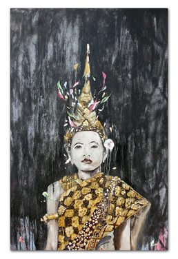 """All Gold Everything, 2016 54""""x37"""" Mix media on canvas"""