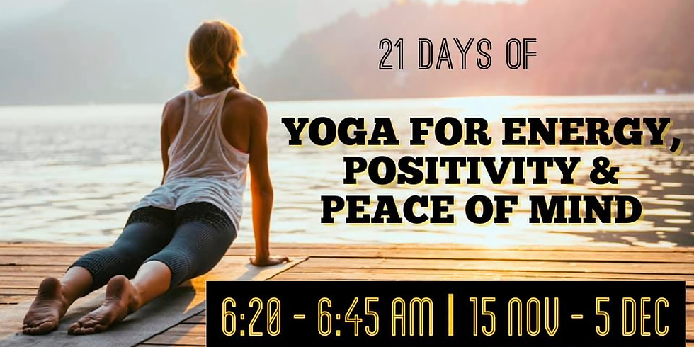 21 Days of Yoga for Energy, Positivity and Peace of Mind (5:20pm AEDT)
