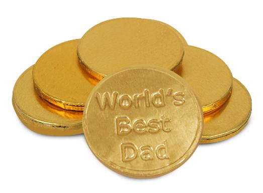 WORLDS BEST DAD Chocolate Coins (x50)