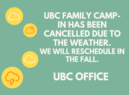 UBC Family Camp-In Rescheduled to Fall this year