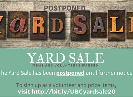 Yard Sale on *April 25th*, Items and Volunteers Wanted