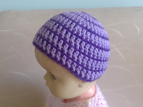 Pretty Purple & Mauve Crocheted Hat