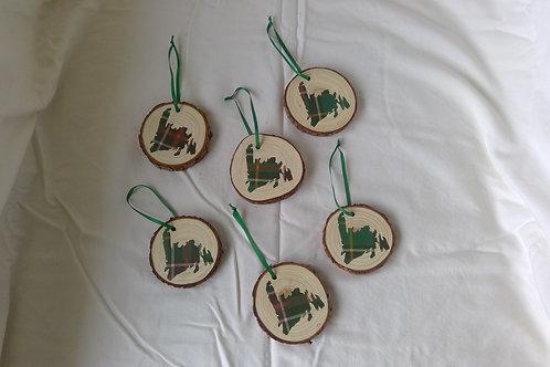 Christmas Tree Ornaments with Newfoundland Map in Newfoundland Tartan.