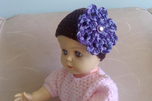 Pretty Brown & purple Baby Hat