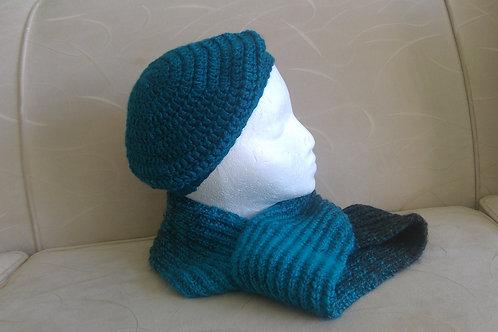 Teal crochet tam & scarf.