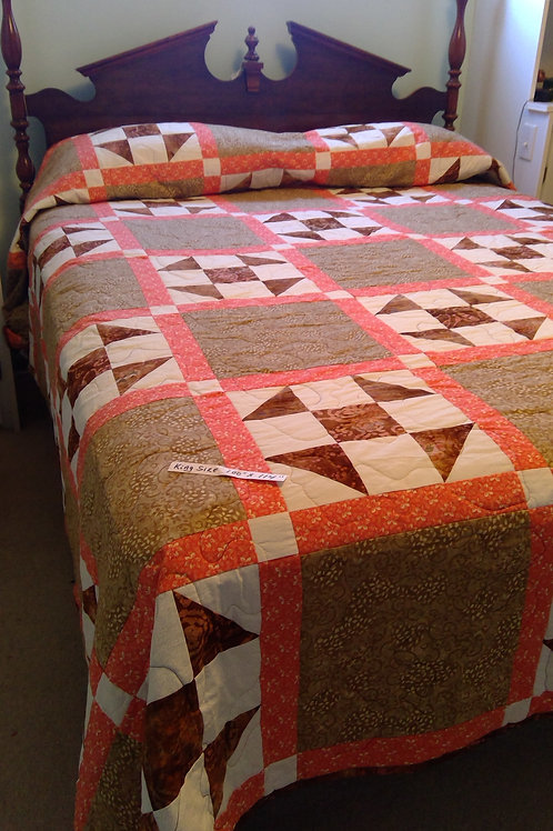 King Size Quilt in Brown, Peach & Beige