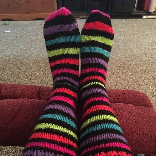Pretty striped hand knit socks