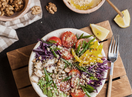 Walnut kale quinoa salad