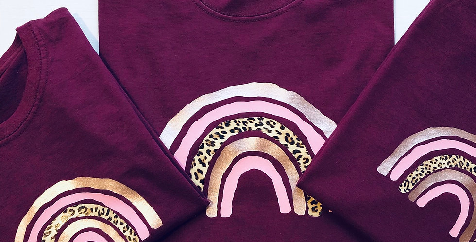 CHILDREN'S Rose Gold, Pink and Leopard Rainbow Design T Shirt