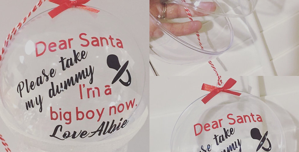 Personalised, fillable 'dummy' bauble