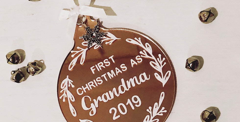 Rose Gold 'First Christmas As...' Bauble