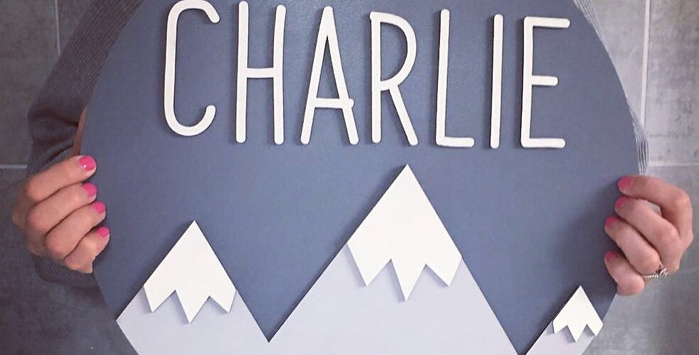 Personalised Mountains Wooden Handpainted Plaque