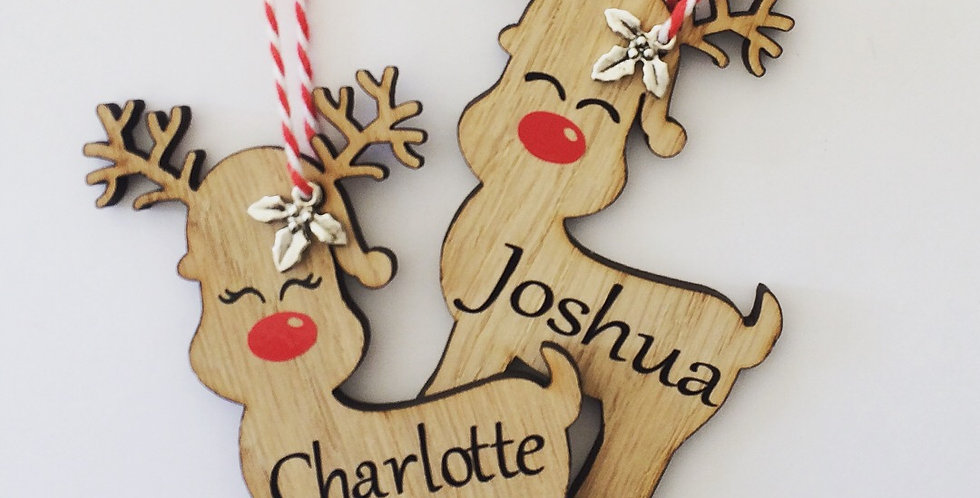 Personalised Oak Reindeer Decoration