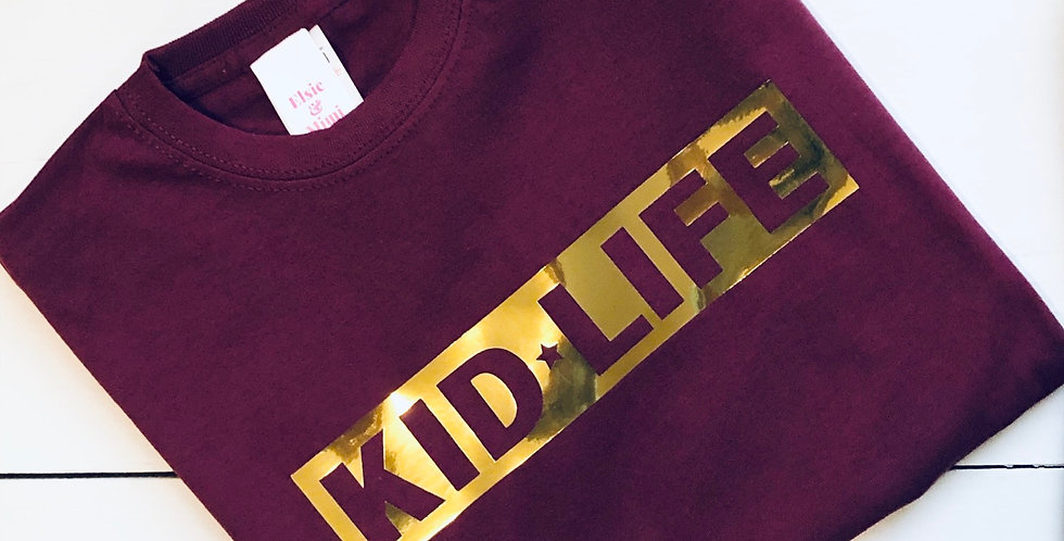 Kid Life Mirrored Gold Design T Shirt