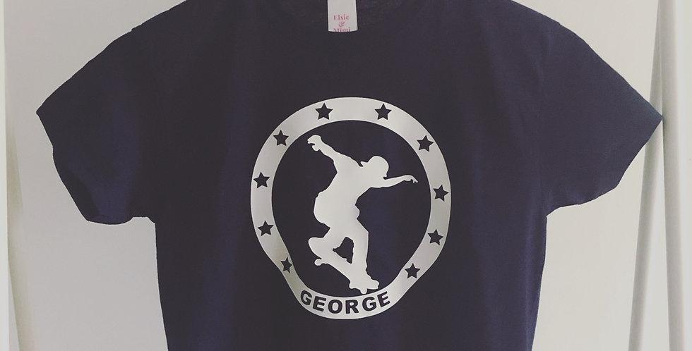 Personalised Navy Blue Skater T-Shirt