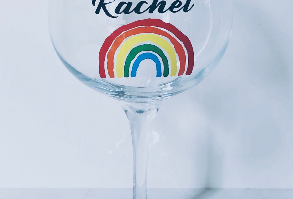 Personalised Rainbow Gin Glass