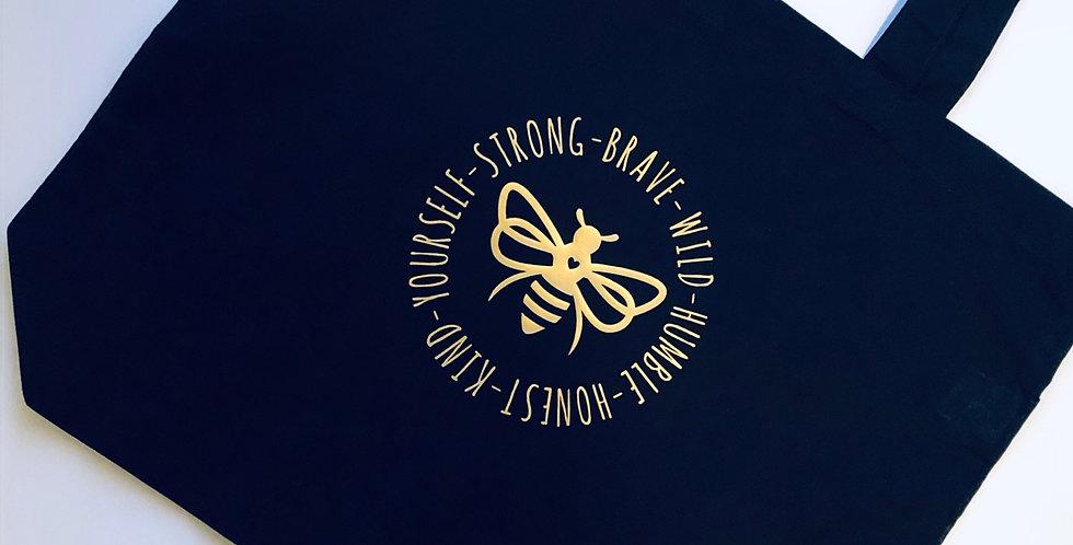 Bee Circular Design Cotton Tote Bag