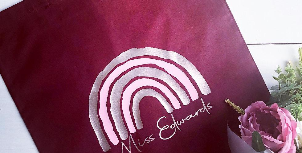 Personalised Burgundy Rainbow Tote Bag