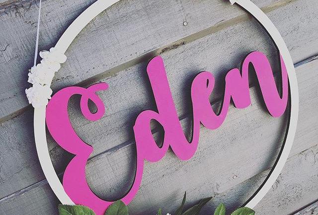 Personalised Wooden Name Hoop (Fancy Font)
