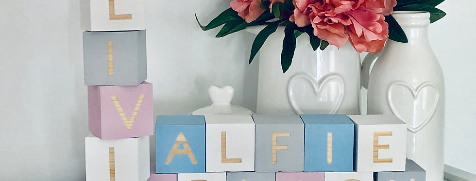 Custom Painted, Wooden Name Blocks