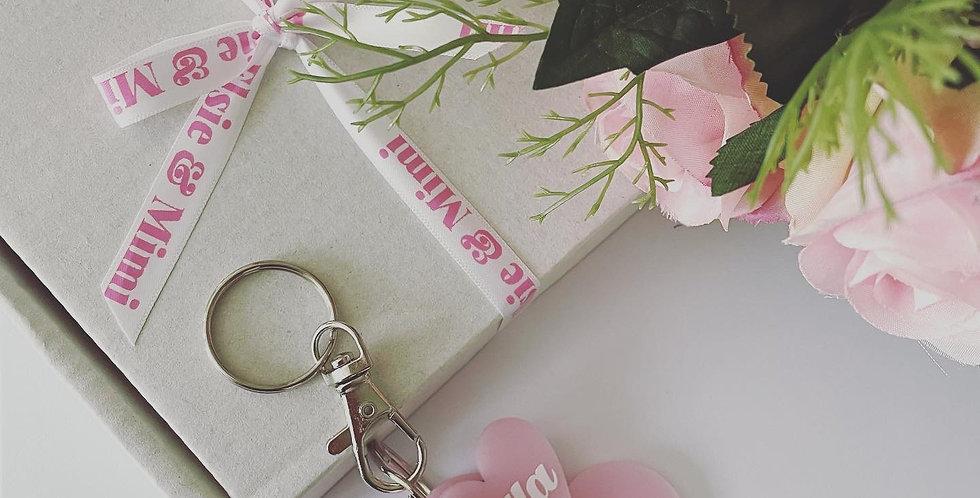 Personalised Pearl Pink Keyring