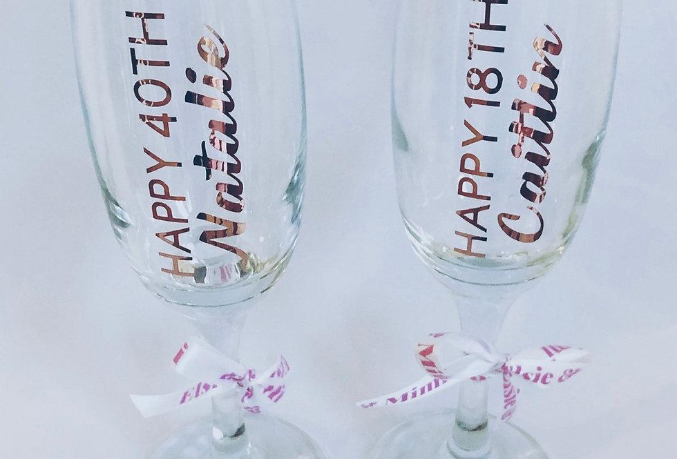 Rose Gold Milestone Champagne Glass