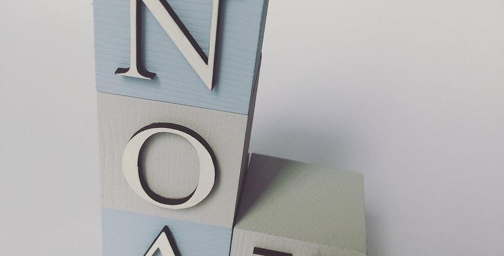 Layered Wooden Name Blocks
