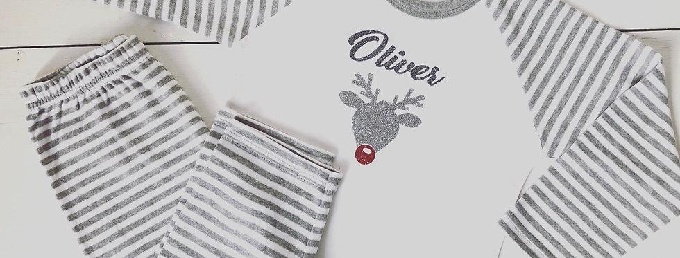Personalised Glitter Rudolph Pyjamas
