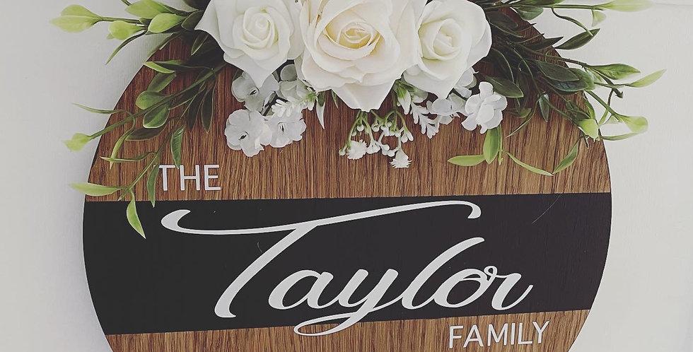 Dark Wood Family Name Door Sign