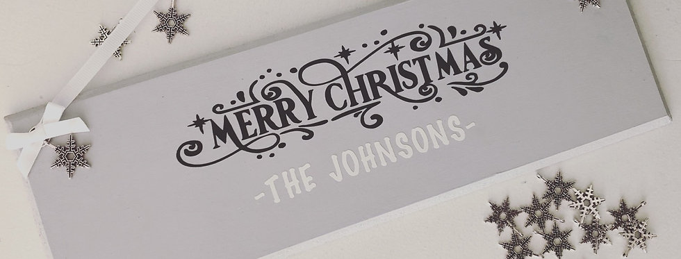 'Merry Christmas' Family Hanging Plaque