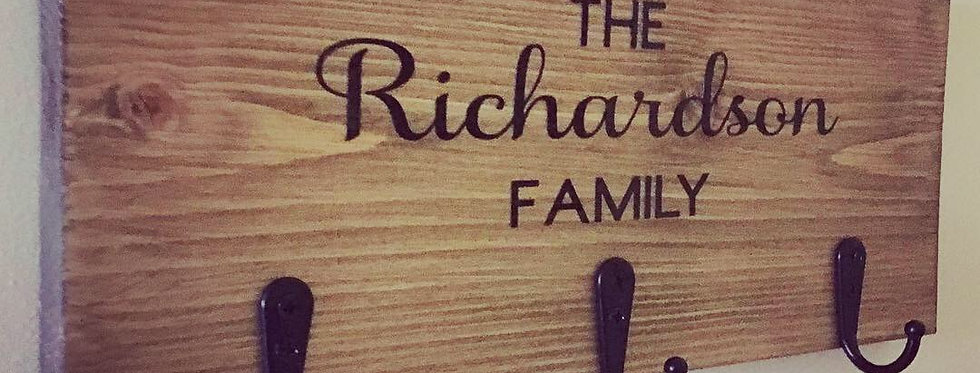 Solid Wood, Personalised, Family Key Holder