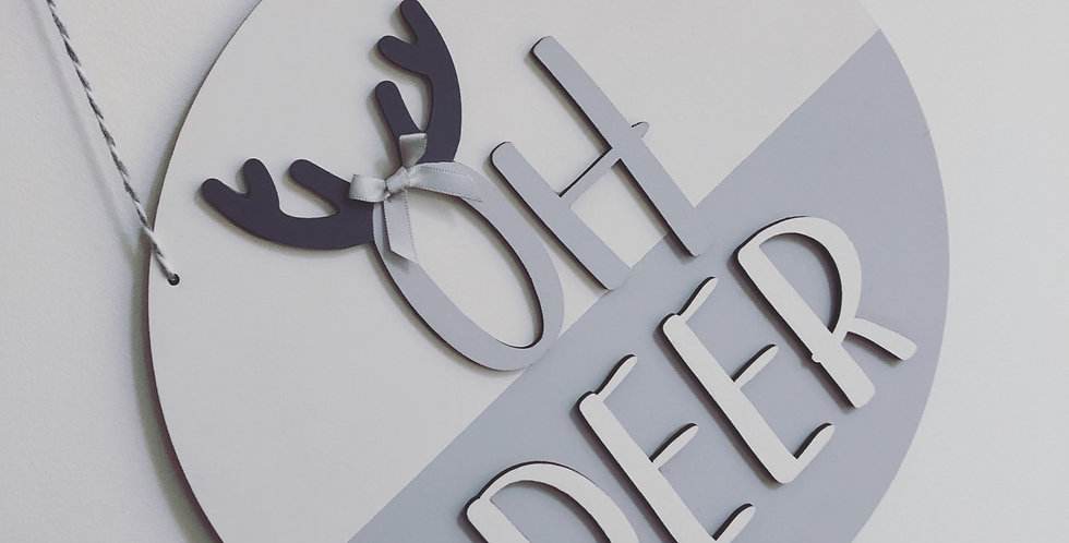 'Oh Deer' Wooden Hanging Sign