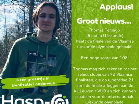 Hasp-O Zepperen - Thomas plaatst zich voor de finale van de Vlaamse Wiskunde-olympiade!