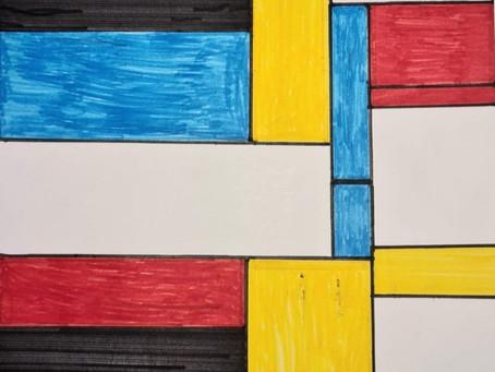 3 Sport - Kunstwerk in de stijl van Piet Mondriaan