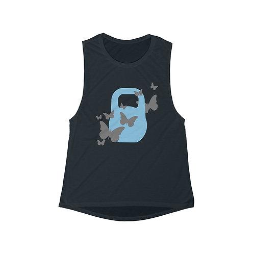 Kettlebell powder blue butterfly Women's Flowy Scoop Muscle Tank
