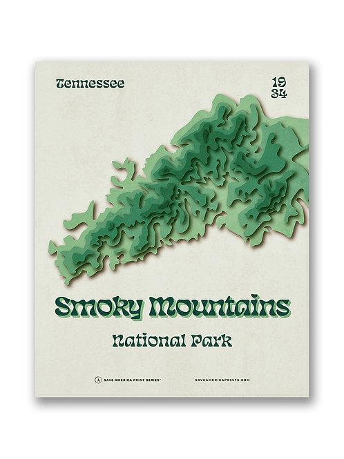 Smoky Mountains Retro Topograph Poster