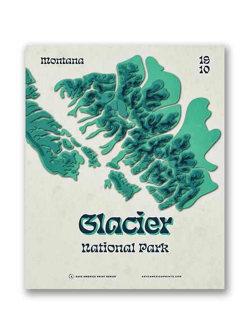 Glacier Retro Topograph Poster